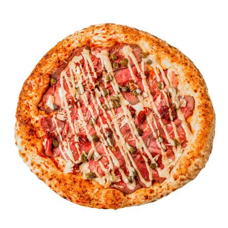 Піца з ростбіфом, каперсами і соусом Мастард