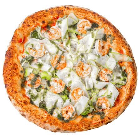Піца з креветками, цукіні і соусом песто